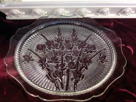 Vintage Jeannette Glass Crystal Iris Herringbone Sandwich, Platter or Cake Plate - $34.99