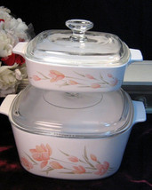 Vintage Corning Ware Pyroceram Peach Floral Dutch Oven Covered Casserole... - $69.99