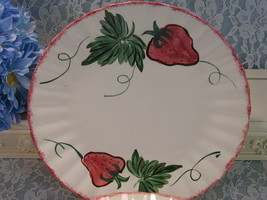 Vintage Blue Ridge Pottery Strawberry Dinner Plate, 1950 Hand Painted Dinnerware - $32.99