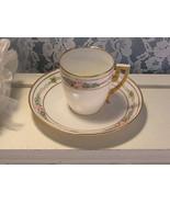 Antique Handpainted Floral Lenox Belleek Demitasse Cup and Saucer Set - $29.99