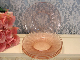 Jeanette Glass Pink Depression Glass Floral or Poinsettia Sherbet Plate,... - $19.99