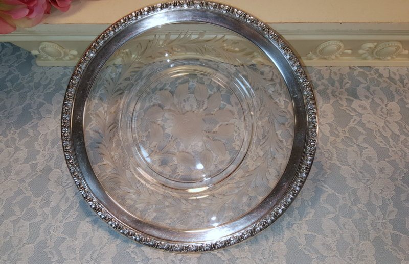 Wallace Sterling Silver Trimmed Crystal Etched Rose Plate, Vintage Antique 1920s - $99.99