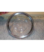 Wallace Sterling Silver Trimmed Crystal Etched Rose Plate, Vintage Antiq... - $99.99