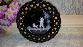Westmoreland Mary Gregory Black Glass Plate with White, Handpainted Boy with Rak - $49.99