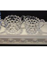 Fostoria Glass American Vintage Crystal Cream and Sugar, Elegant Depress... - $15.99