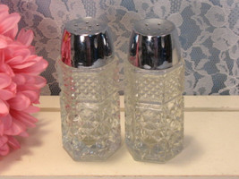Vintage Anchor Hocking Crystal Wexford Salt and Pepper Shakers, 1960s Mid Centur - $12.99
