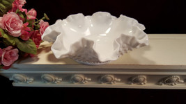 Fenton Glass Hobnail Milk Glass Ruffled Bowl, Vintage 1960s Art Glass - $32.99