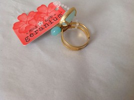 NEW Geranium Gold Toned Ring With Blue Stones NWT Adjustable size 7 + image 4