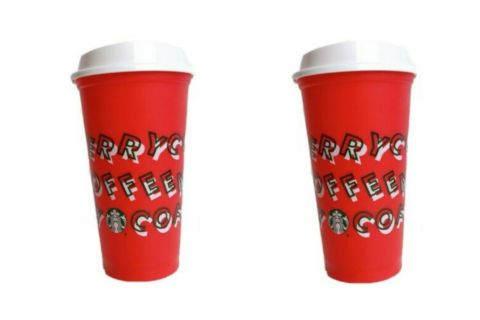 Primary image for 2019 Starbucks RED Merry Coffee Christmas 16oz Limited Edition Reusable Hot Cup