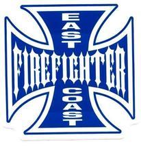 East Coast Firefighter Maltese Cross Fire Department Vinyl Decal - $1.93