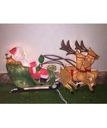 """17"""" Christmas 20 Light Santa & Reindeer Sculpture Light Window/Wall Deco... - $9.89"""