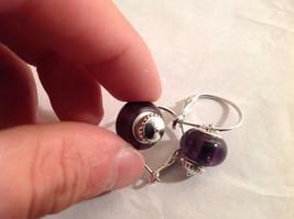 NEW Silver Toned Purple Lampwork Glass Bead Dangling Earrings Filigree  image 3