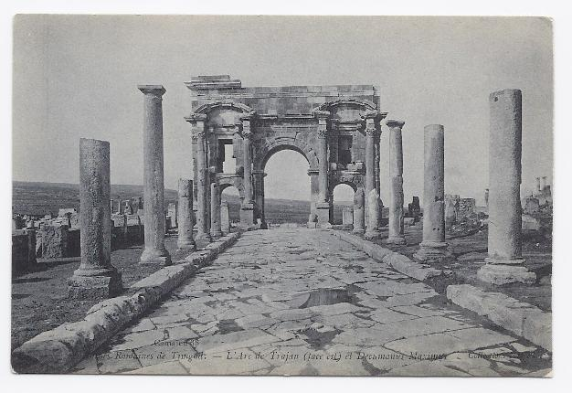 c1910 - View of the Arch of Trajan in Timgad, Algiers – Unused