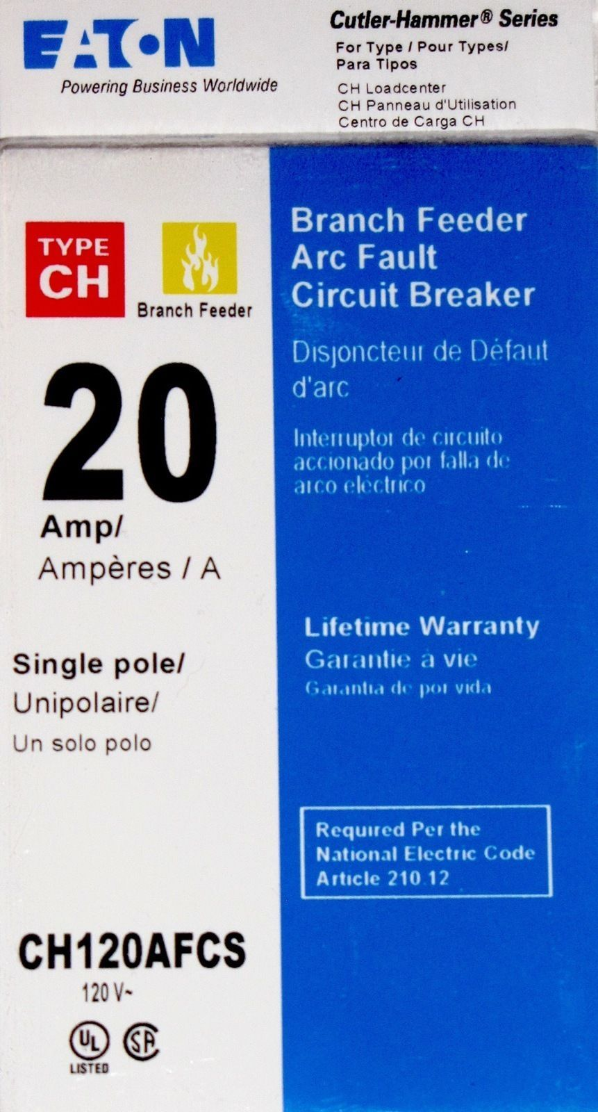 Eaton Cutler Hammer 20a Arc Fault Circuit And 50 Similar Items Breaker Ch120afcs