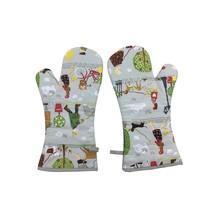 Paar von Hund Fußgänger Bäume Grau Rot Grüne Baumwolle Einzeln Küchenhan... - $26.77