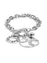 GUESS Women s Silver-Tone Round Logo Charm Brac... - $24.99