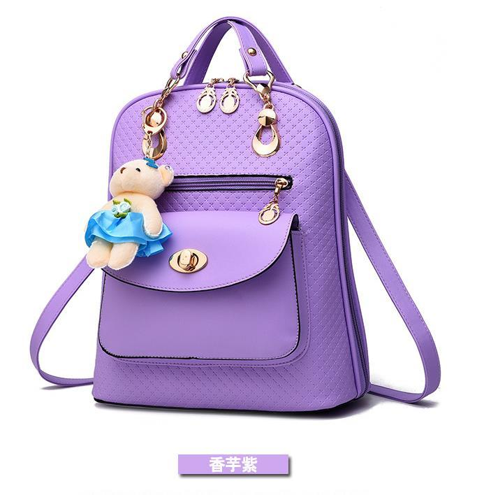 Mixed Color Students Bookbags Leather Women Fashion Backpacks B129-1 image 9