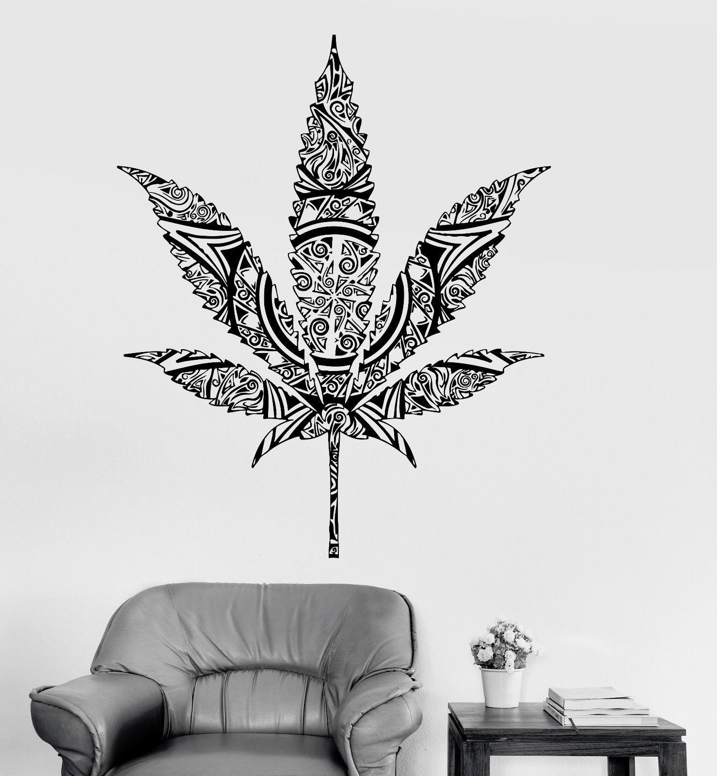 Vinyl Wall Decal Weed Cannabis Hemp Marijuana Rastafarian