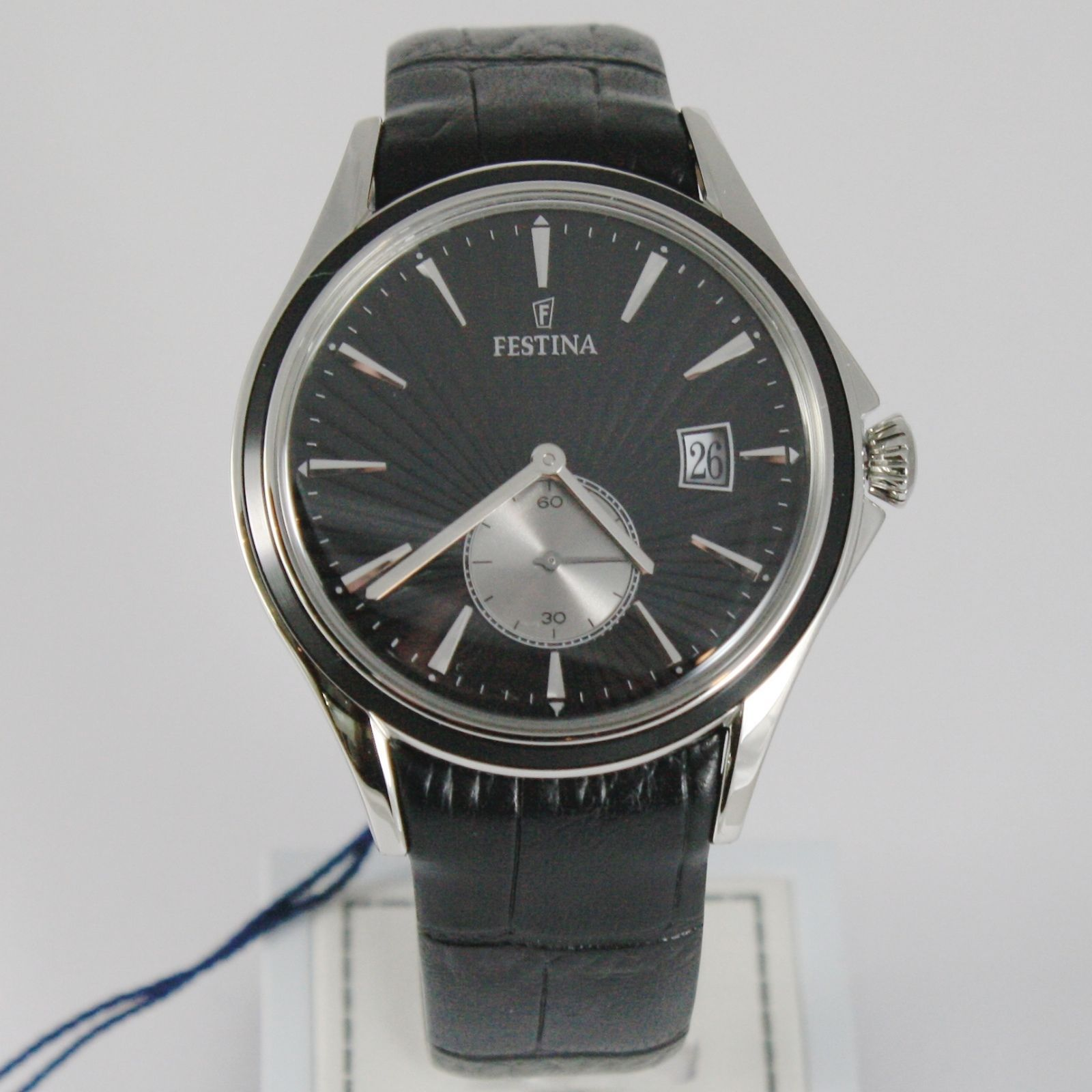 FESTINA WATCH QUARTZ MOVEMENT, 42 MM CASE, 3 ATM, BLACK FACE, LEATHER BAND
