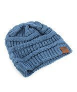 Trendy! Knit Beanie Cap Winter Hat (Blue) - $14.35 CAD