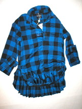 Womens 4 New NWT 36 S American Retro Designer Plaid Top Shirt Pleat Blue... - $159.20