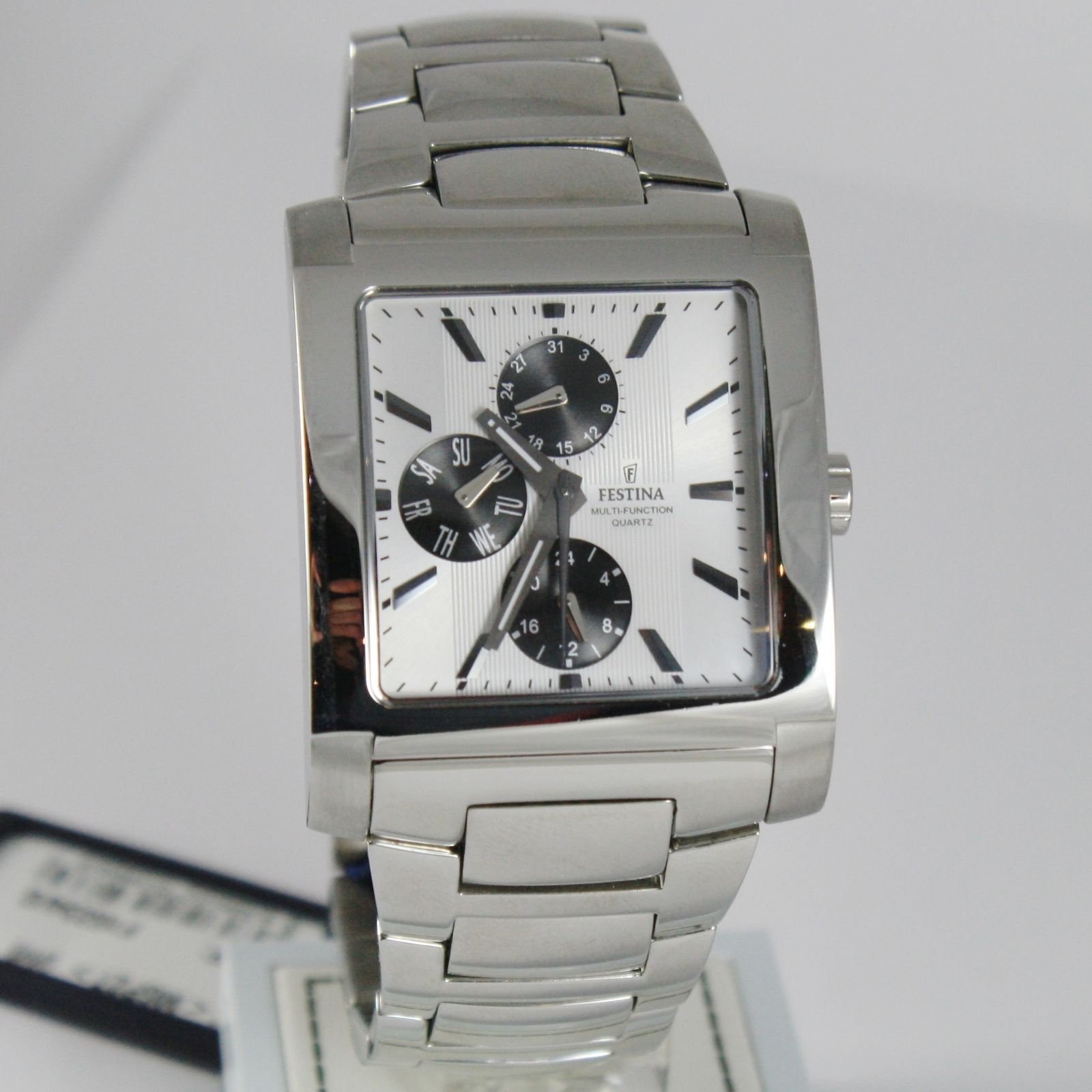 FESTINA WATCH, QUARTZ SQUARE 37 MM CASE, 5 ATM, DATE DAY 24 HOURS MULTIFUNCTION