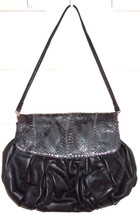Chi Carlos Falchi Handbag Genuine Black Leather Snakeskin Handbag Evenin... - $99.95