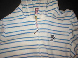 New $148 Womens Medium Juicy Couture Terry Hoodie White Blue Dog Jacket Stripes image 2