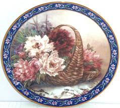 Peonies Collector Plate Lena Liu Basket Bouquets Flower Floral Vintage  - $59.95