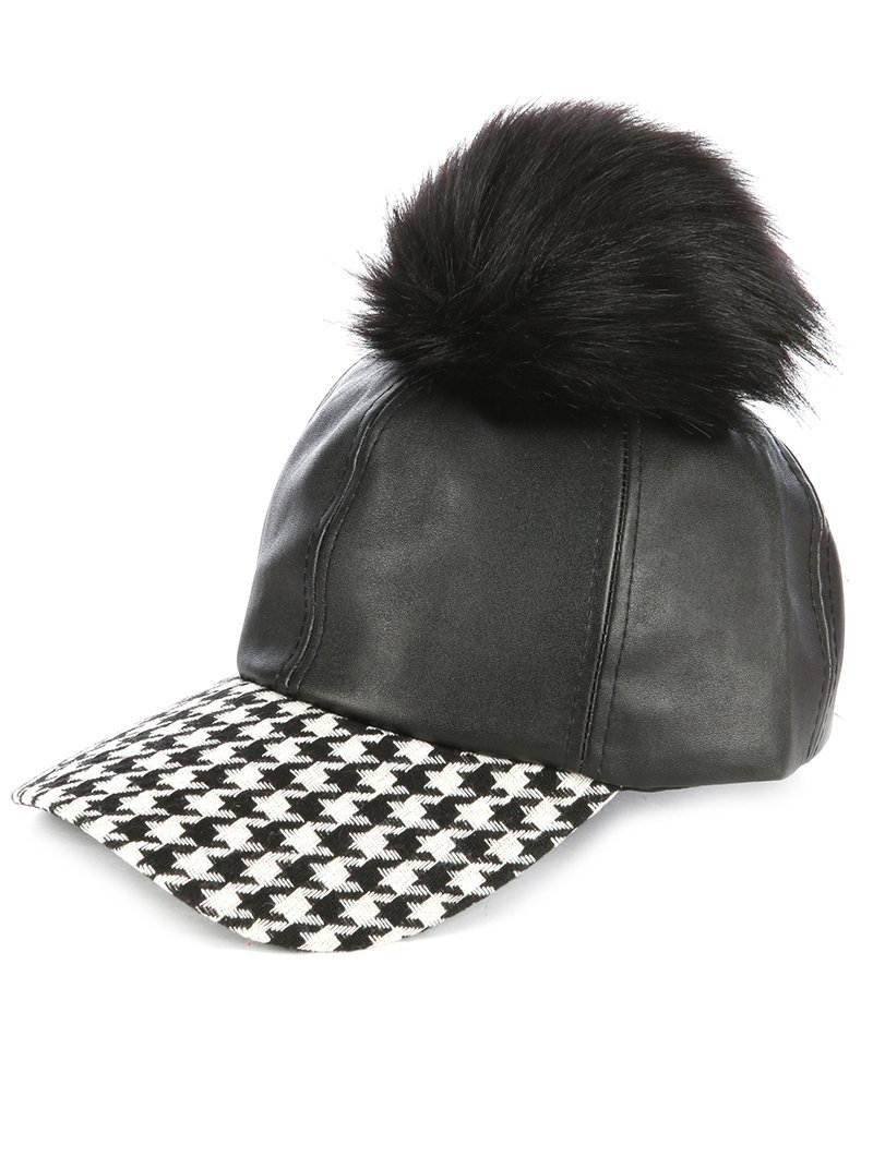 Faux Fur Pom Houndstooth Baseball Cap Hat Black