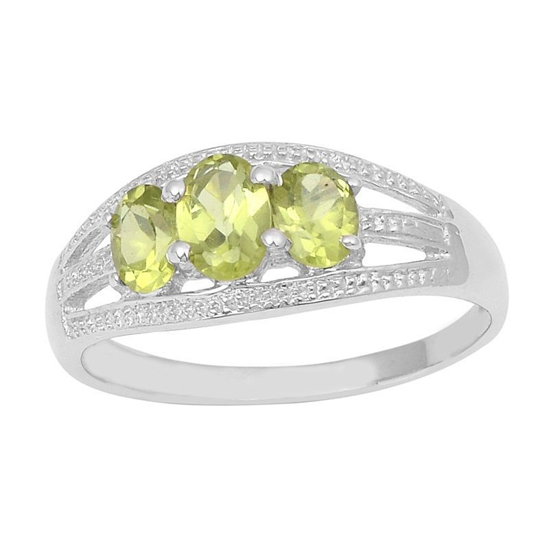 Green Peridot Gemstone Solid 925 Sterling Silver Ring Size 6.5 SHRI0825