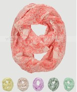 White Owl Animal Print Block Circle Loop Wrap Infinity Scarf Multi Color Soft - €5,88 EUR