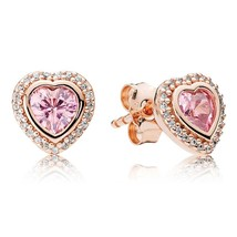 Rose Gold Plated Pink Sparkling Love Heart Stud Earrings QJCB885 - $19.99