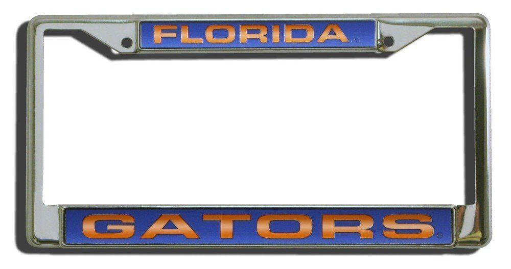 FLORIDA GATORS CAR AUTO LASER MIRROR CHROME LICENSE PLATE TAG FRAME NCAA