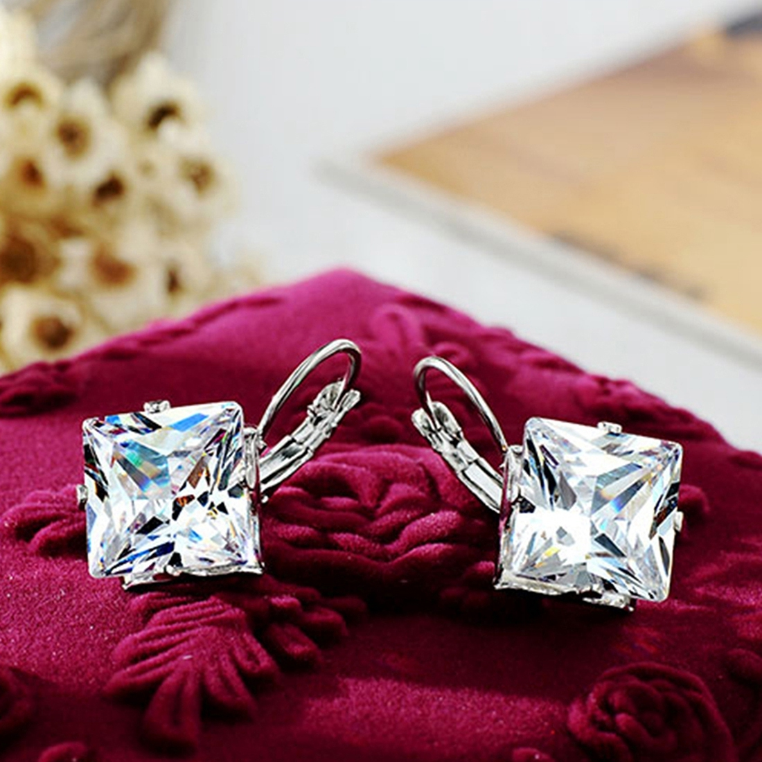Korean Style Rhombus Silver Color Earrings for Women Girls Wedding Fashion