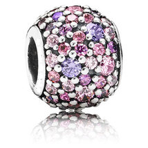 925 Sterling Silver Purple and Pink Multi-Colored Pave Lights Charm Bead... - $22.99