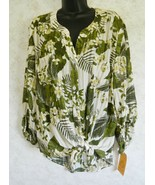 Ruby Rd. Lush Life Ladies Polyester Blouse Tie at Waist Green Leaves Size XL - $19.79