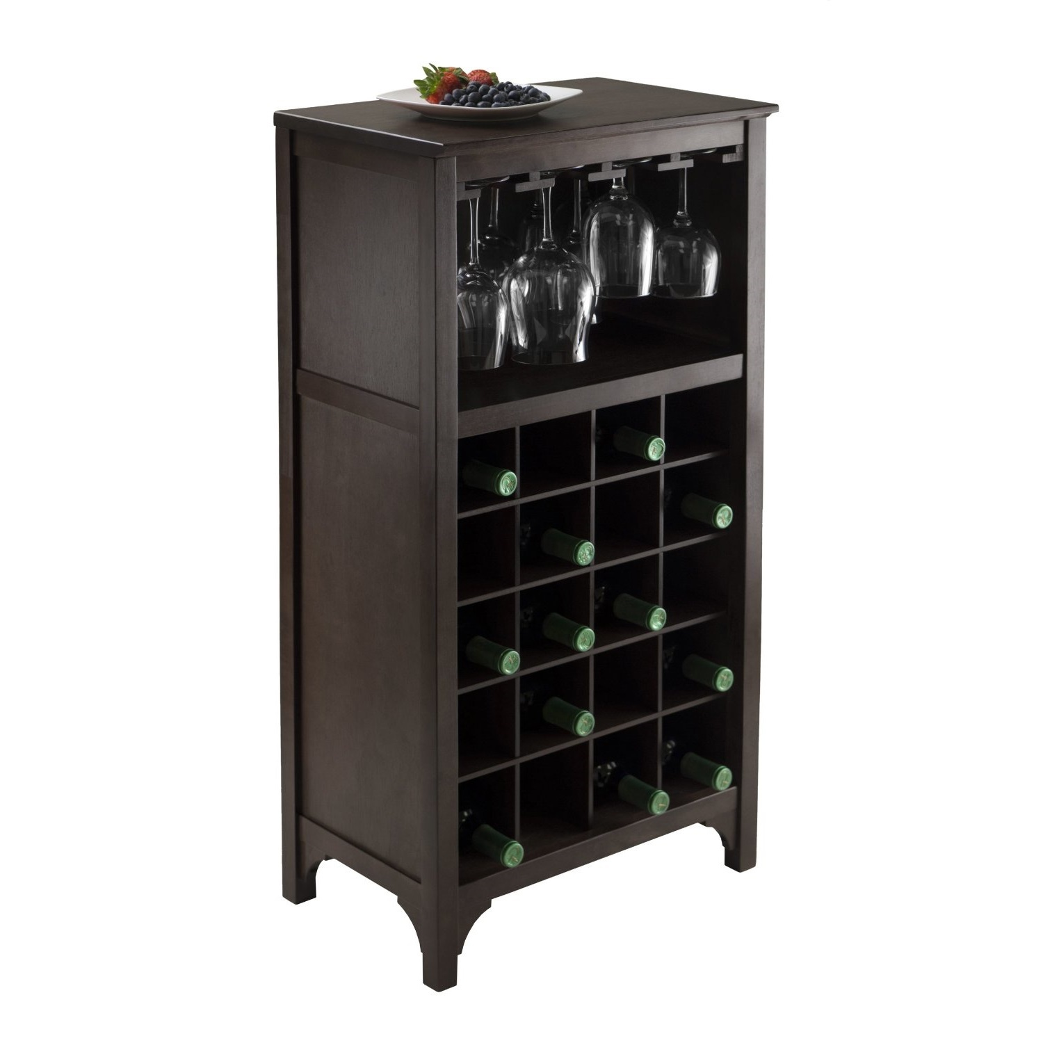 Wood wine rack espresso glass storage and 50 similar items for Storage furniture