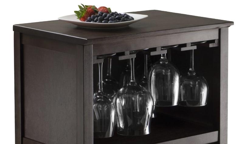 Wood Wine Rack Espresso Glass Storage Elegant Home Furniture Wine Racks Bottle Holders