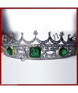 Royal Vintage INS 5.24Ct Rose Cut Diamond 925 Silver Emerald Wedding Tia... - $626.50