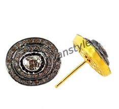 Victorian/Antique Insp Artisan 1.8 Ct Rose Cut/ Polky Diamond 925 Silver... - $330.33