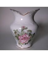 Vintage Pottery Ceramic Vase Embossed Roses Transferware Shabby Chic Gol... - $19.98