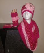 Pink Mix Handmade Crochet Hat, Cowl & Fingerles... - $60.00