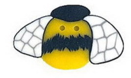 Wee Bee 1101w handmade polymer clay button .25 inch JABC Just Another Bu... - $1.40