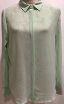 Olive & Oak Women Career Work Pintuck Back Green Button Front Shirt Top ... - $29.32