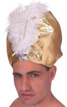 GOLD LAME TUBAN with GOLD FEATHER - $25.00