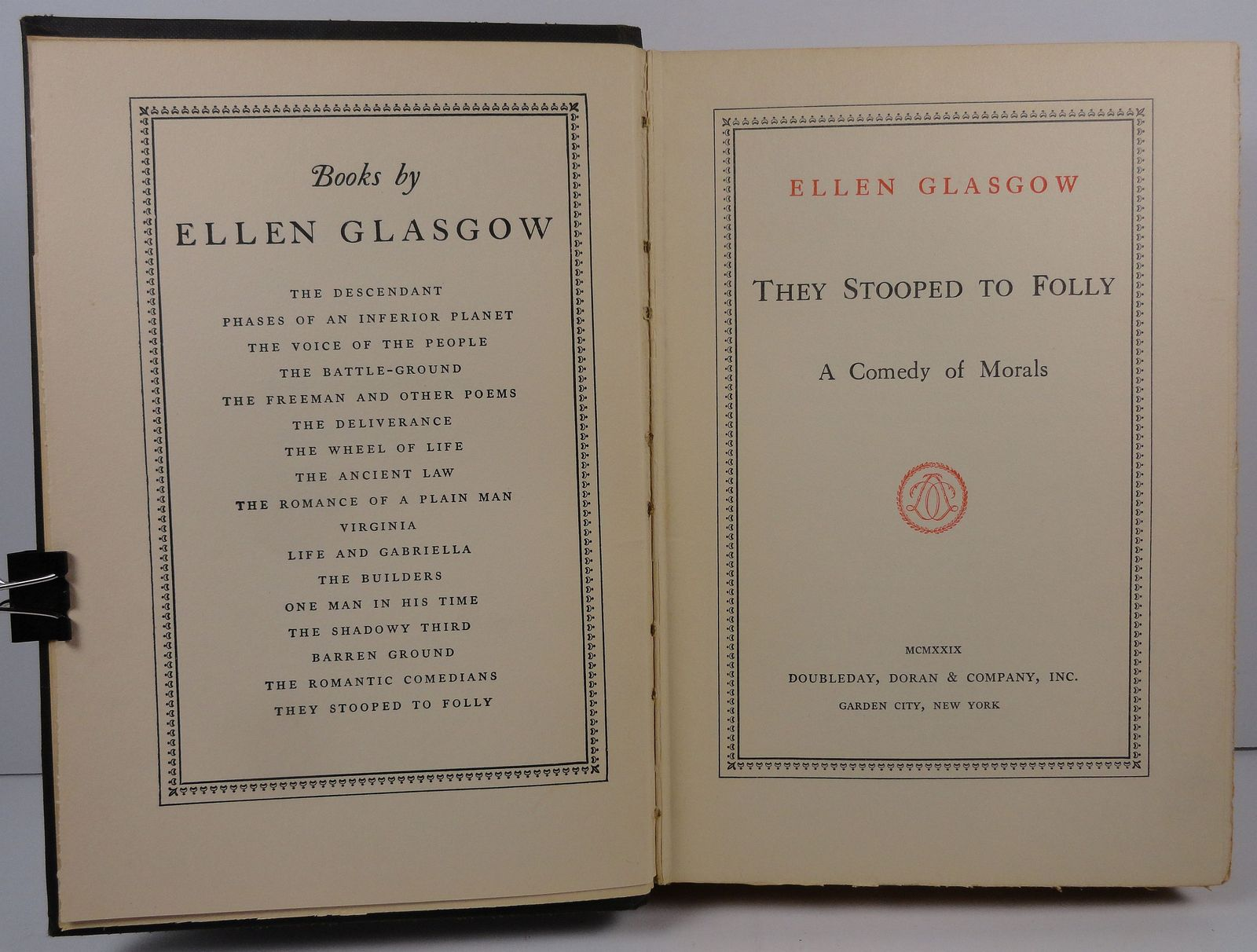 They Stooped to Folly A Comedy of Morals by Ellen Glasgow