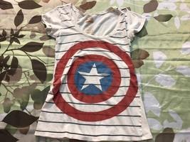Official Marvel Captain America Logo Retro T Shirt Womens Shield Comics ... - £10.43 GBP