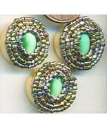Green Cateye Beaded Button Covers 4 - $10.00