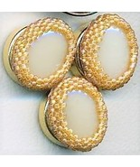Faux Ivory Beaded Button Covers 5 - $10.00